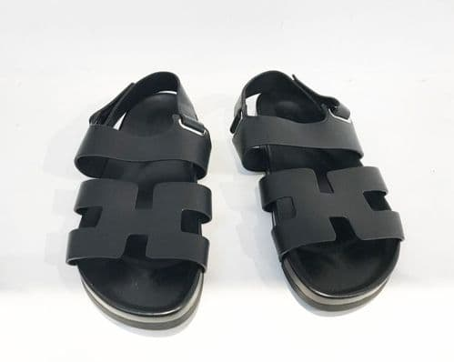 Hermes Takara Black Sandals Size 38.5 #2337