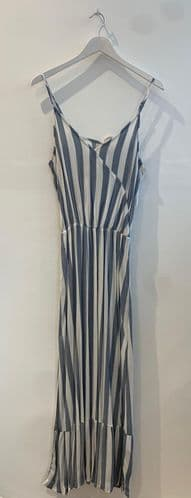 Ichi Blue Cream Stripe Maxi Dress Size M 9934/19 A