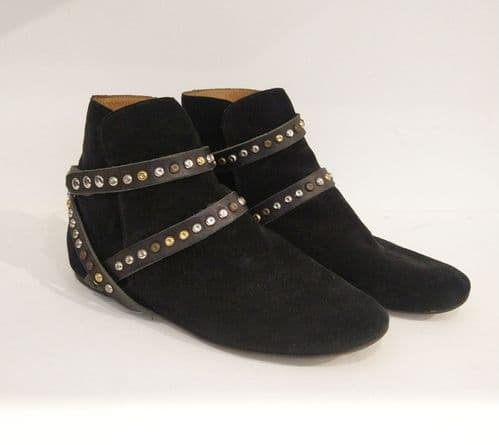 Isabel Marant Women's Black Suede Ruben Studded Boots Size 6 #74/3514/A