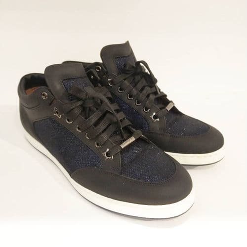 Jimmy Choo Women's Black & Navy Sparkle Low Top Trainers Size UK 7.5 #2/7012/A