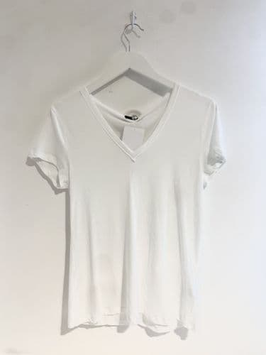 Joseph Womens White V Neck T-shirt Size S (M)