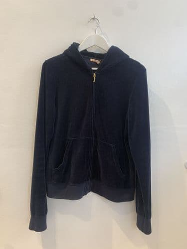 Juicy Couture Women's Navy Velour Hooded Tracktop Size XL #4/7007/A