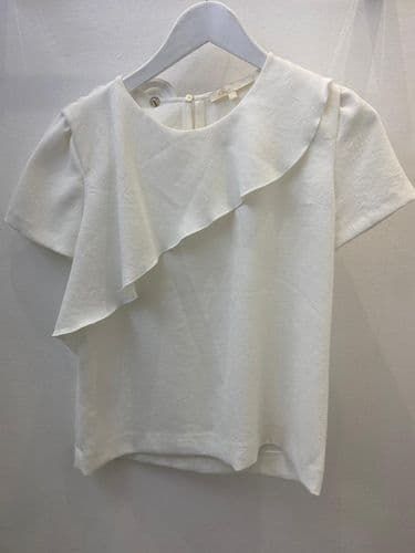 Maje White Frill Front Top, Size S 2291/3 M