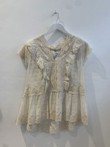 Misa Women's Cream Lace Top Size S #40/5148/M
