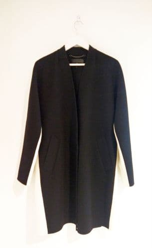 Rag & Bone Black & White Wool Coat Size 0 #24/7706/M FB