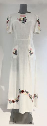 Rixo Womens Cream Cotton Floral Embroidered Dress Size #69/5148/M