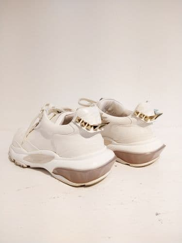 Valentino White Leather Bounce Stud Trainers Size 37