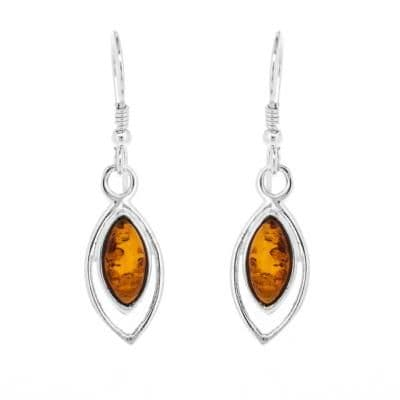 Amber Marquise Shaped Earrings Sterling Silver