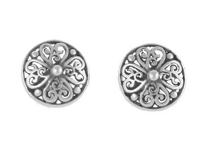 Antique Style Round Stud Earrings Sterling Silver