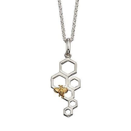 Elements Silver Bee & Honeycomb Sterling Silver Pendant & Chain