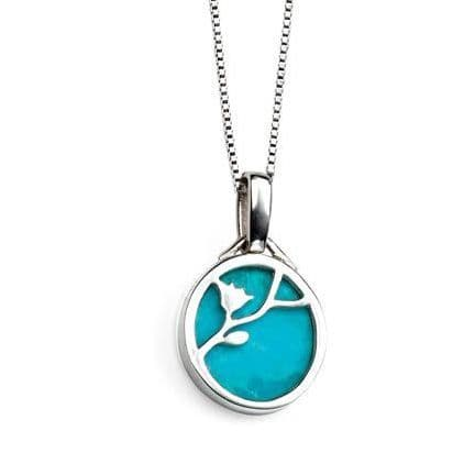 Elements Silver Turquoise Disc Flower Pendant & Chain Sterling Silver