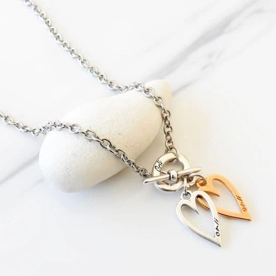 Orli Necklace 30N1067SR Silver & Rose Gold Plated Hearts