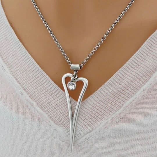 Orli Necklace 30N1509 Silver Plated Heart w Crystal