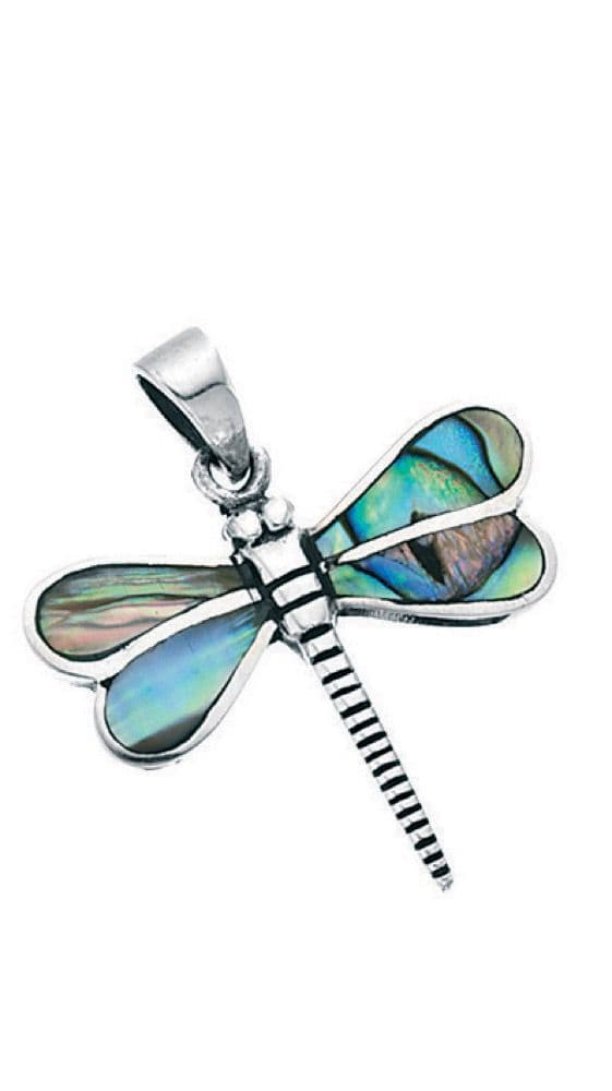 Paua Shell Dragonfly Sterling Silver