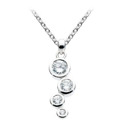 Scattered Round CZ Pendant Sterling Silver