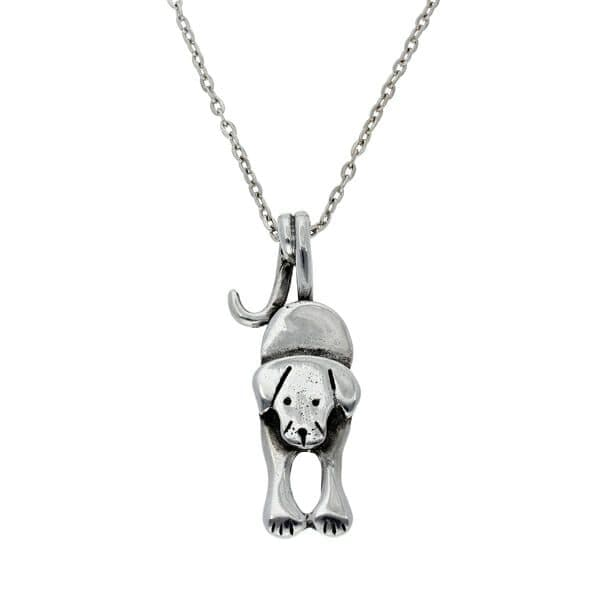 St Justin Puppy Dog Tail Pendant & Chain