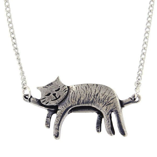 """St Justin Sleeping Cat Necklace 16.5"""""""