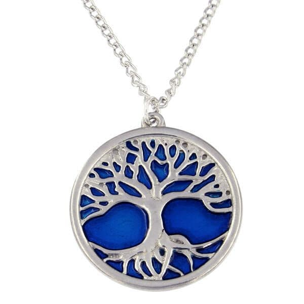 St Justin Tree of Life Pendant & Chain with Blue Enamel
