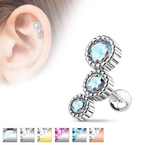 3 Gem Cartilage Earring