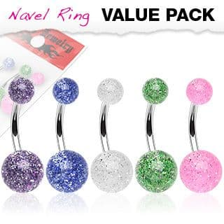 5 Pack of Belly Bars with UV Ultra Glitter