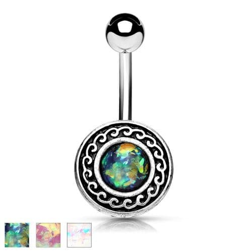 Antique Belly Bar with Opal Glitter Tribal Shield