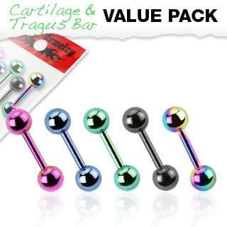 Assorted 5 Pack of Titanium Plated Cartilage Bars