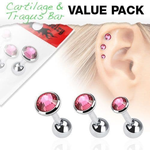 Assorted Size 3 Pack of Cartilage Bars with Pink Gem Tops