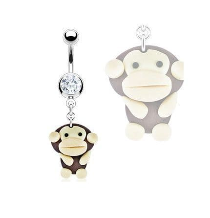 Belly Bar with Clay Monkey Dangle