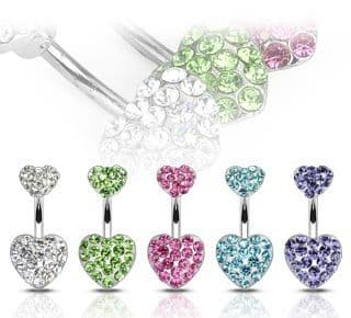 Belly Bar with Paved Cubic Zirconia (CZ) Gem Hearts