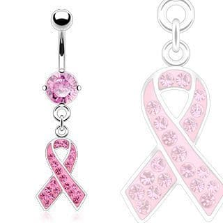 Belly Bar with Pink Awareness Ribbon Dangle