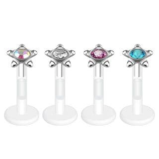 BioFlex Star Stud Labret with Round Press-Fit CZ Gem