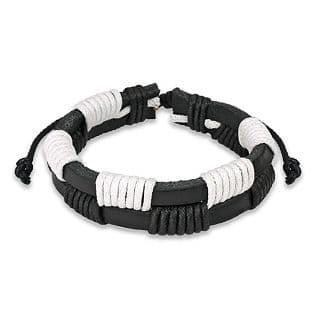 Black and White Dual Band Leather Bracelet