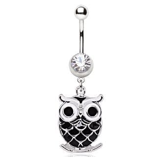 Black Owl Dangle Belly Bar Piercing