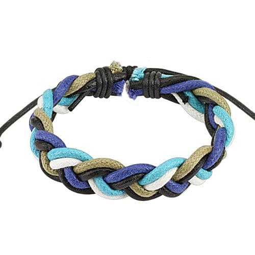 Blue Toned Multi-color Double Braided Leather Bracelet with Drawstrings