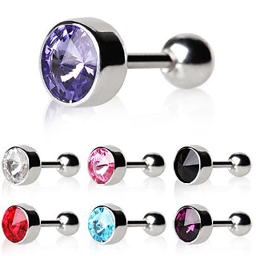 Cartilage Earring with Bezel Set Gem