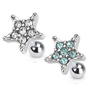 Cartilage Earrings with Gem Star Top