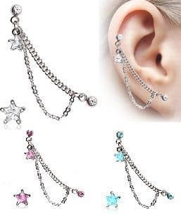 Chain Cartilage Earring with Gem Star