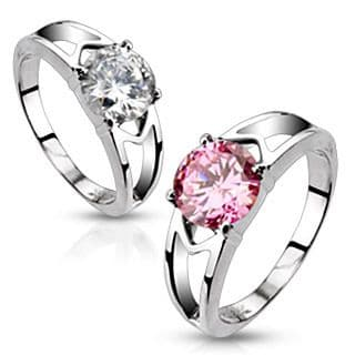 Cubic Zirconia Solitaire Hollow Wedding Ring - Stainless Steel / Select Colour
