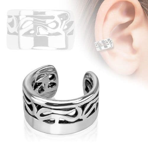Ear Cuff with Tribal Pattern Inlay (Clip on)