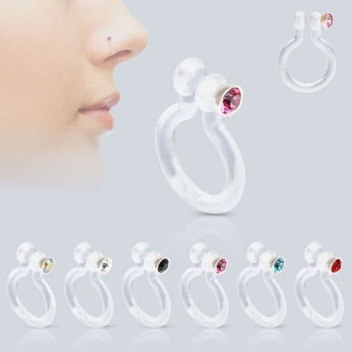 Fake Bioflex Nose Stud with Gem