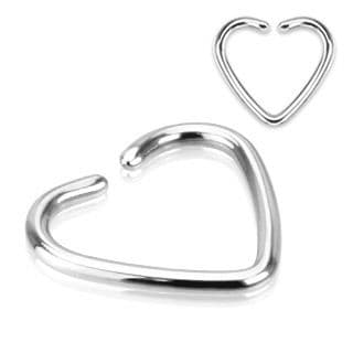 Fake Cartilage 'Clip-On' Single Closure Heart Ring