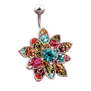 Flower Belly Bar with Multicoloured CZ Gems
