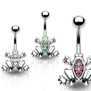 Frog Belly Bar with CZ Gem