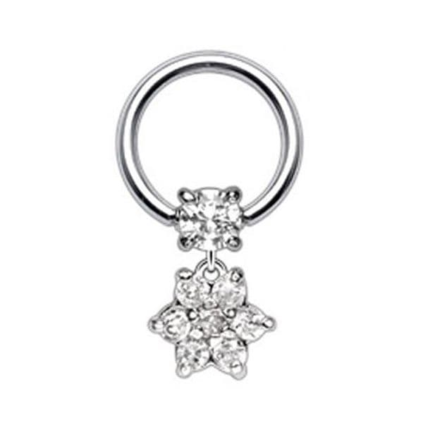 Gem Ball Closure Ring with CZ  Paved Flower