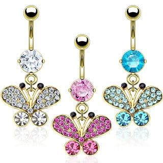 Gold Plated Belly Bar Ring with Gem Butterfly Dangle