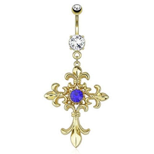Gold Plated Belly Bar with Blue Gem Fleur de Lis Cross Dangle