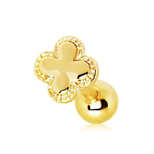 Gold Plated Clover Top Cartilage Bar
