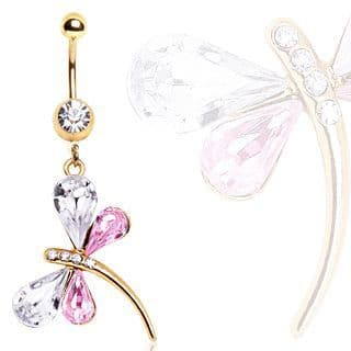 Gold Plated Drangonfly Dangle Belly Bar