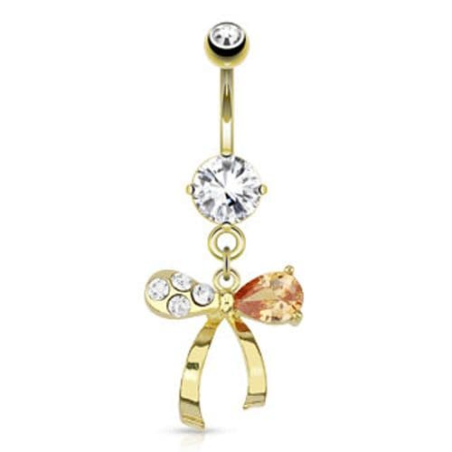 Gold Plated Ribbon Belly Bar with Clear and Topaz Gem Dangle