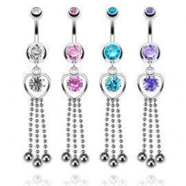Heart and Gem Chain Dangle Belly Bar